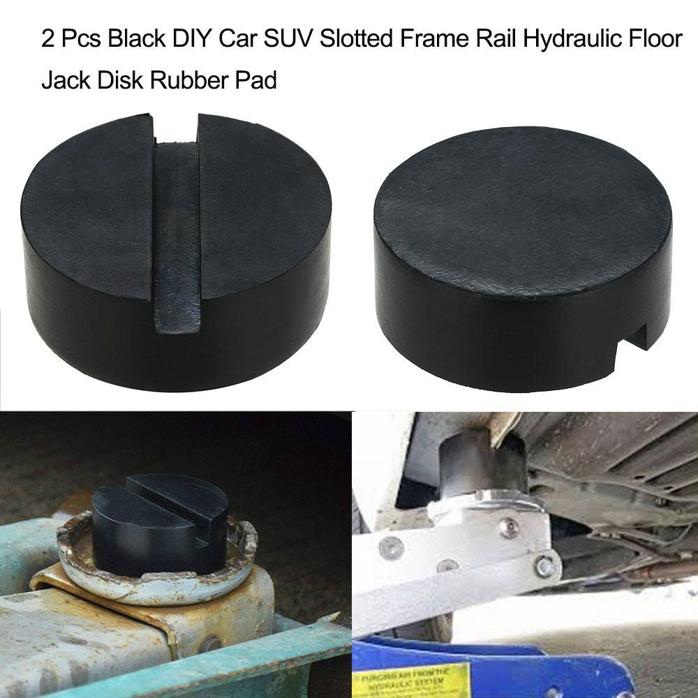 2 предмета черный DIY автомобиля внедорожник щелевые Рамки железнодорожных гидравлических домкрат диск резиновыми накладками