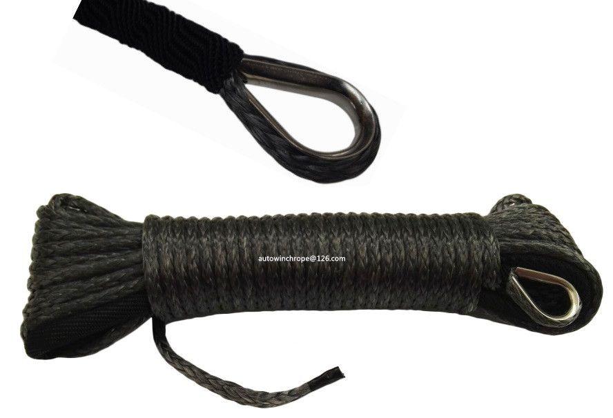 Black 5mm*15m ATV Winch Line, Synthetic Winch Cable,ATV Winch Relay,UTV Winch Accessories
