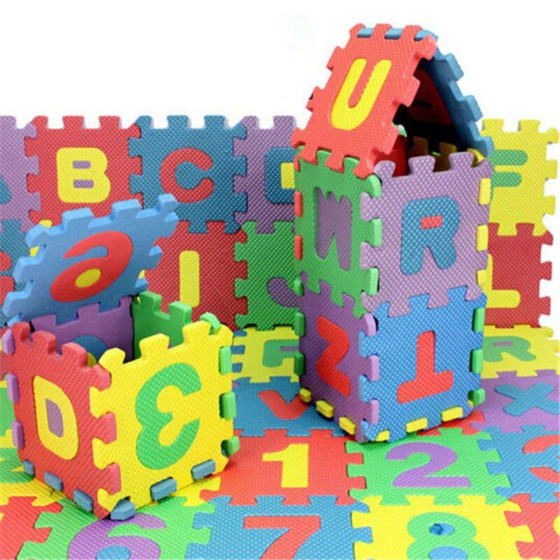 72pcs Baby Kids Mini EVA Foam Alphabet Letters Number Mat 3D Puzzles Educational Toys