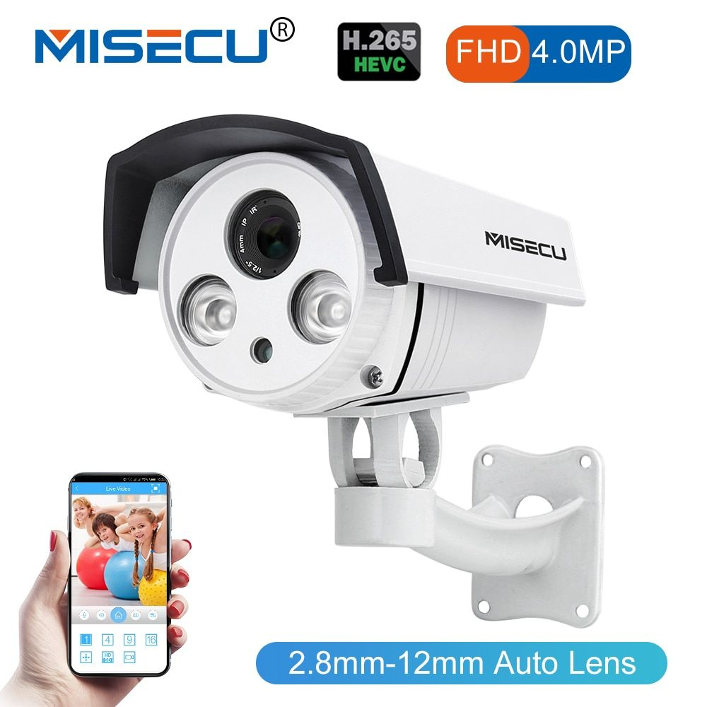 MISECU 4MP 48V Real POE Auto Zoom 2.8-12mm advanced H.265/H.264 Hi3516D FULL HD WDR Onvif Night Vision Camera cctv home security