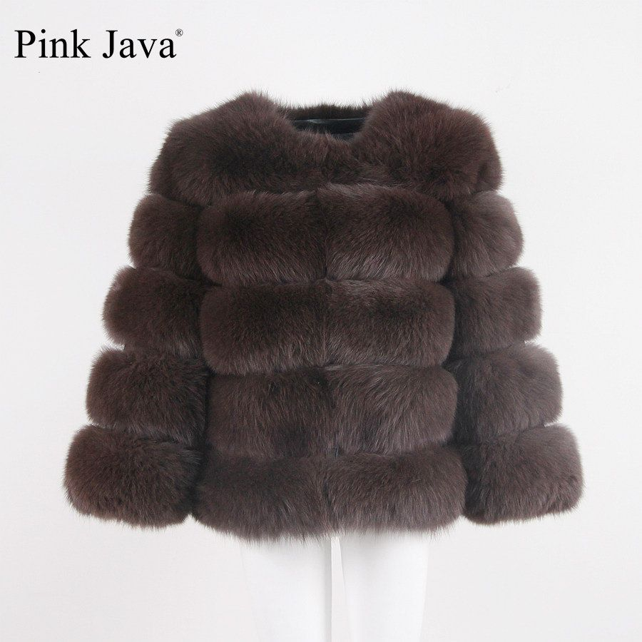 pink java QC8081 2017 new model women real fox fur coat long sleeves winter fashion fur outfit high quality