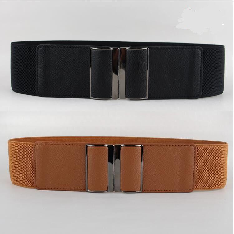 Nouveau Design Ceinture CHAUDE large PU ceintures de Smoking en cuir punk élastique ceinture carré boucle noir robe décorer ceinture sangle femmes