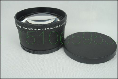 77mm 2.0X TELE Telephoto Lens for Digital Camera 2X 77 Black