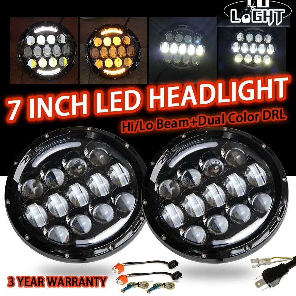 CO LIGHT 7 Inch Head Light 105W Angel Eyes White Drl Amber Turn Signal Lights 9-30V for Lada 4X4 Urban Niva Uaz Hunter Offroad