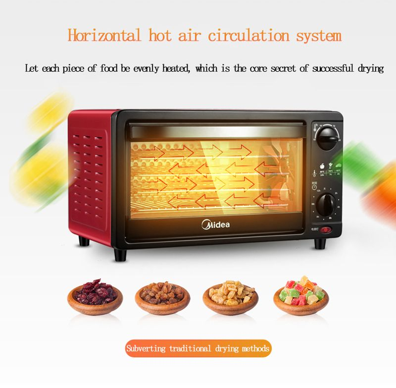 Midea 2018 Commercial Food Dried Fruit Machine Household Fruit and Vegetable 15L Air Dryer Dehydrator
