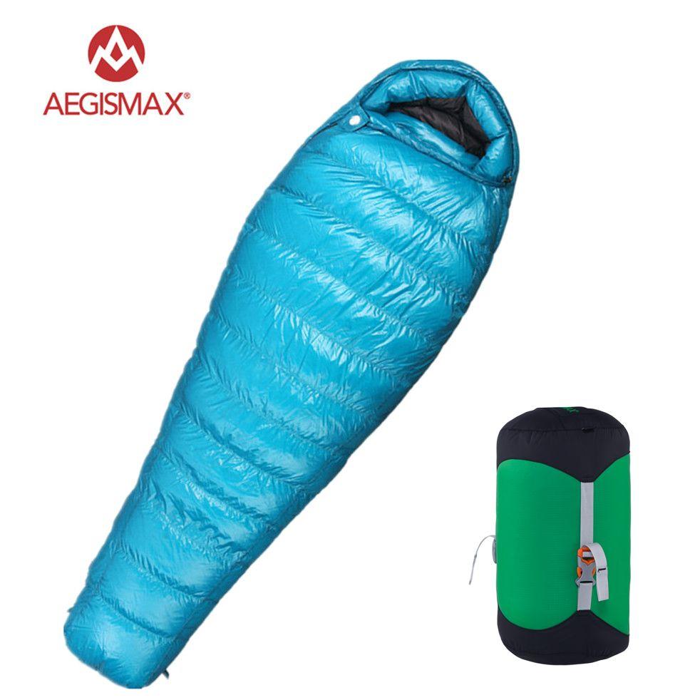 Aegismax M3 Ultralight Camping Mummy 95% White Goose Down Sleeping Bag 3 Season Hiking