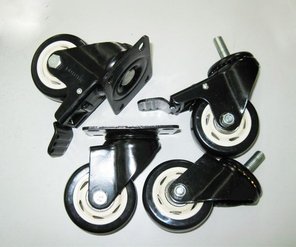 1.5-inch Diamond PU Super Polyurethane Black Caster Double-bearing with brake brake caster wheel mute