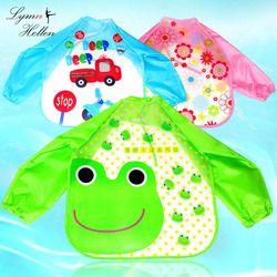 Bebé arroz alimentos delantal bolsillo de manga larga anti-ropa Baberos impermeables tela comida ropa juguetes Squishy animal de la historieta de la cubierta kid