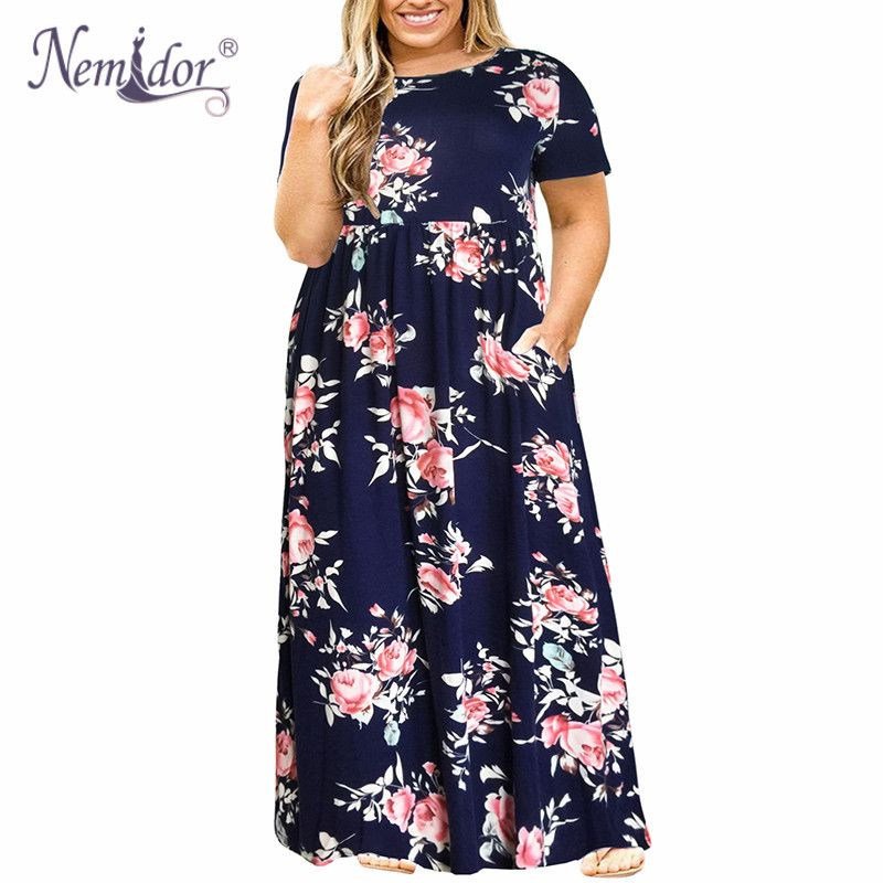 Nemidor 2018 Hot Sales Women O-neck Short Sleeve Long Summer Casual Dress Plus Size 7XL 8XL 9XL Vintage Maxi Dress With Pockets