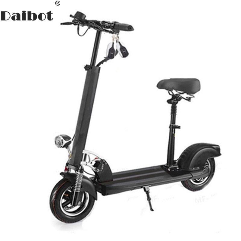 Daibot Elektrische Kick Roller Zwei Rad Elektro-scooter 10 zoll Weiß/Schwarz Elektrische Fahrrad Mit Sitz Für Erwachsene