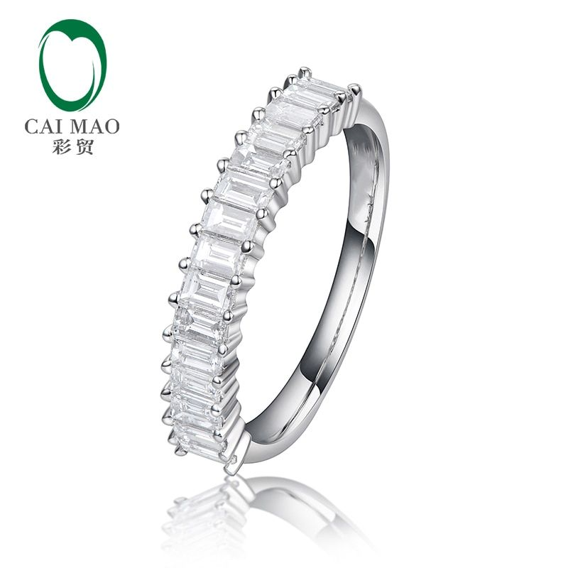 CaiMao Half Eternity Natural 0.57ctw Baguette Cut Diamonds 14k White Gold Engagement Wedding Band