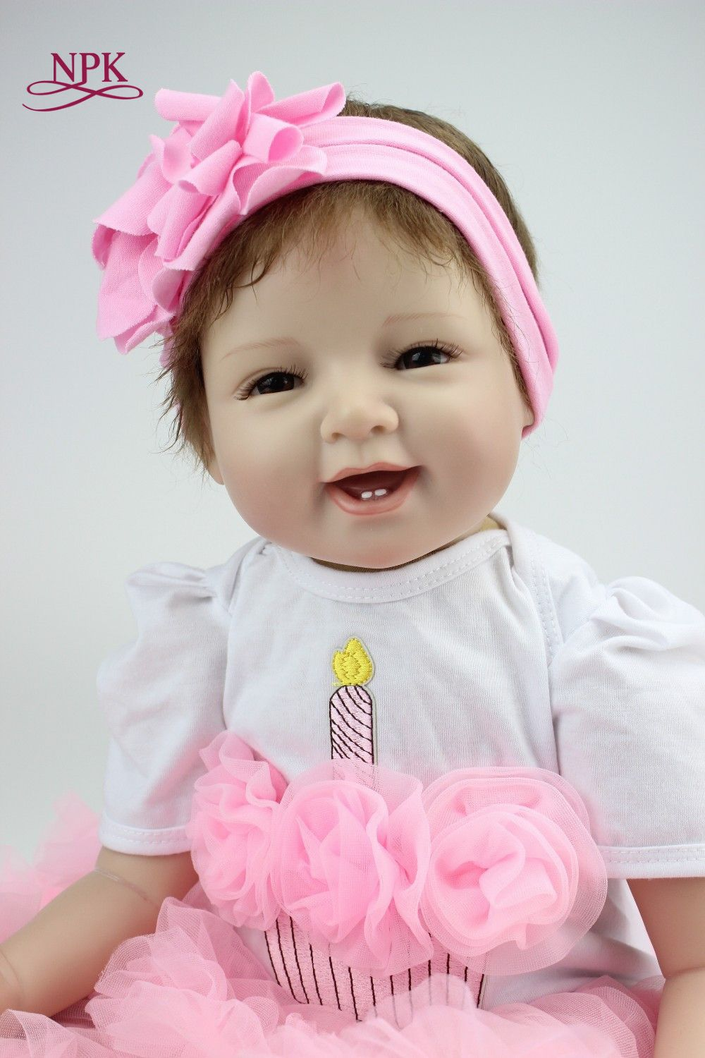 NPK 22' 55cm Silicone Baby Reborn Dolls With Cotton Body Dressed in Nice Sweater Lifelike Doll Reborn Babies Toys for Girls