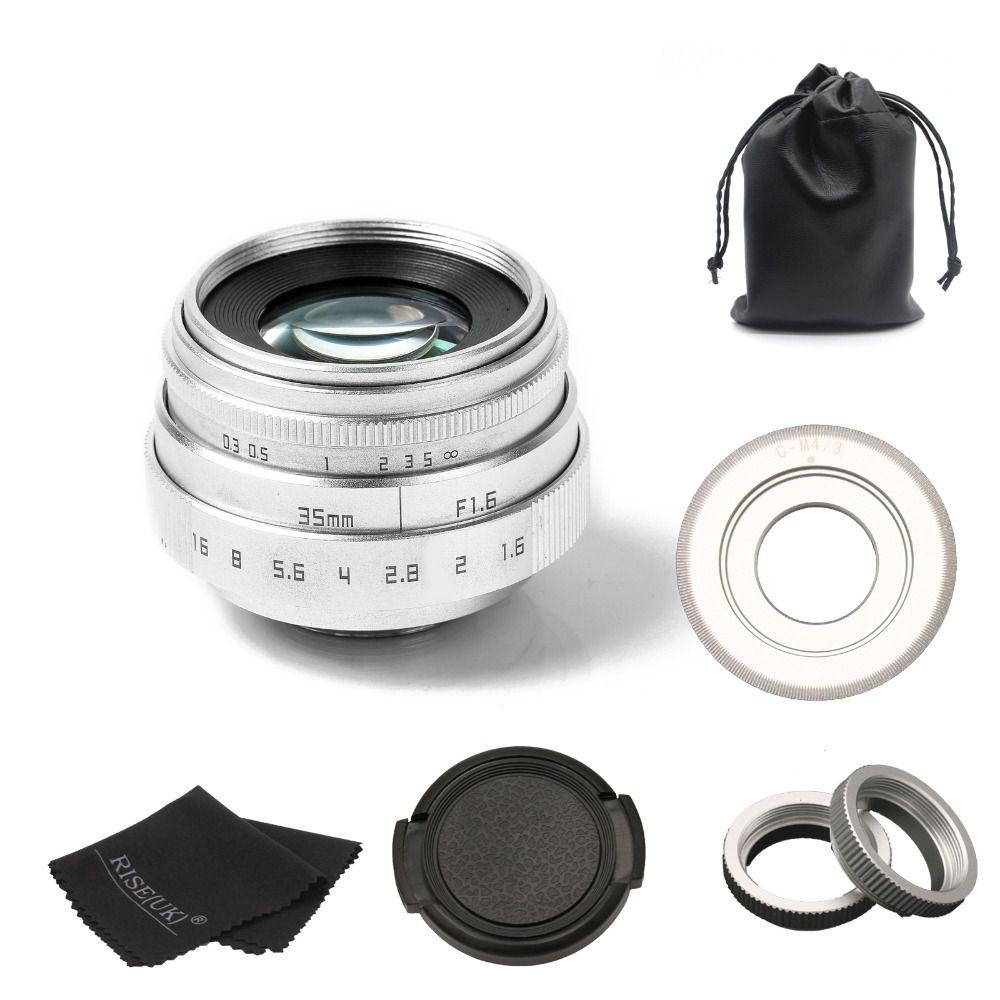 new arrive FUJIAN 35mm f1.6 C mount camera CCTV Lens II for M4/3 / MFT Mount Camera & Adapter silver free shipping