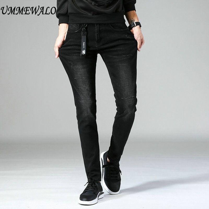 Ummewalo черные обтягивающие джинсы Для мужчин дизайнер Повседневное джинсы хлопок стрейч тонкий Жан Мужской Качество Джинсы для женщин Homme