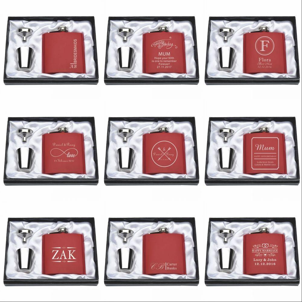 1 Set personnalisé gravé 6oz rouge hanche flacon en acier inoxydable avec boîte blanche et noire anniversaire saint valentin cadeau faveur de mariage