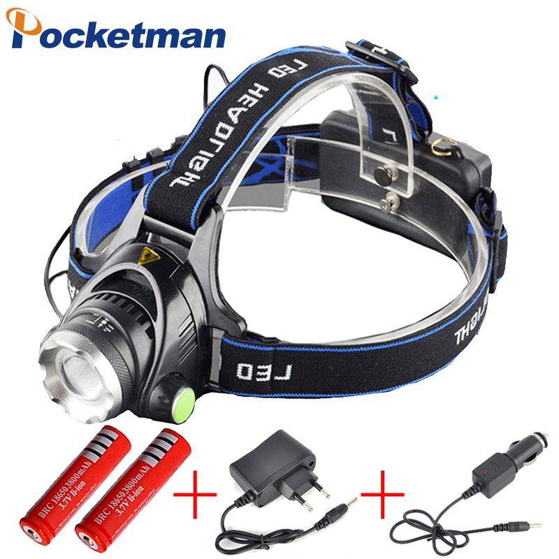 3800LM Headlight T6 LED Head Lamp Headlamp Linterna Torch LED Flashlights Biking Fishing Torch for 18650 Battery ZK92