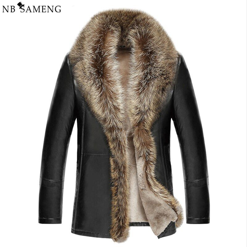 2016 Men's Leather Jacket Lambswool Composite Leather Jacket Men Thick Raccoon Fur Collar Jaqueta Couro Masculino 13M0684