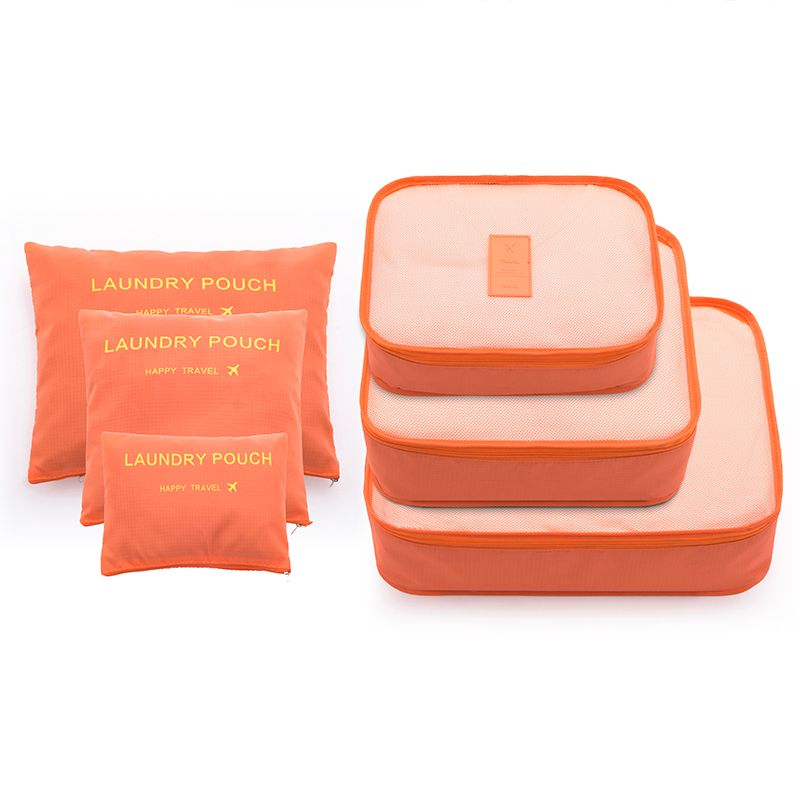 6PCS/Set Fashion Big Capacity Zipper Nylon Waterproof Women Travel Bag Luggage Organizer Packing Bag Cube Men Journey Bag