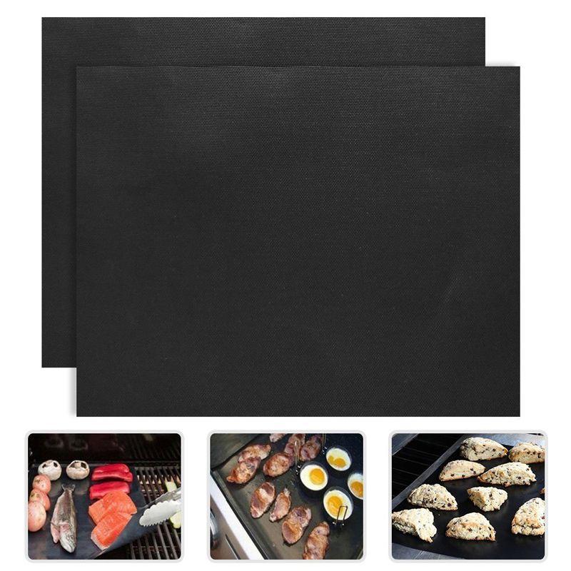 2pcs/lot 33x40cm PTFE Non-stick Bbq Grill Mats Reusable Barbecue Baking Liners Teflon Cooking Sheets Bbq Tools