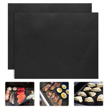 2pcs/lot 33x40cm PTFE Non-stick Bbq Grill Mats Reusable Barbecue Baking Liners Teflon Cooking Sheets  Bbq Tools