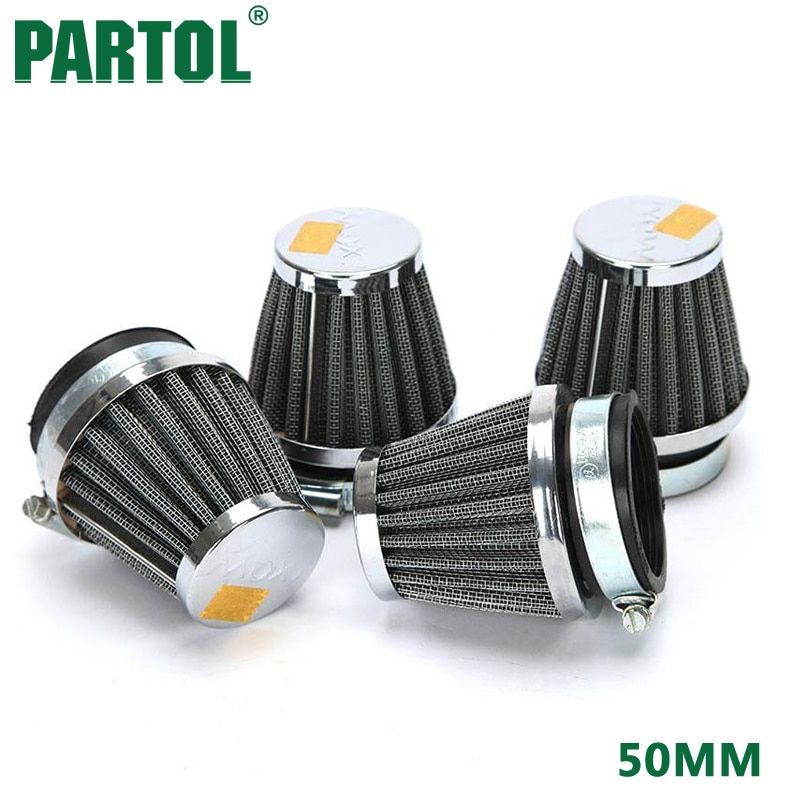 Partol 4pcs 50mm Motorcycle Air Filter Motorbike Motocross Accessories Mushroom Head Cleaner Racing Clamp-on Universal