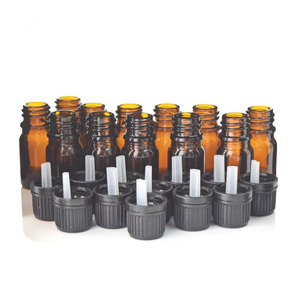 12pcs 1/6 Oz 5ml Amber Glass bottles w/ euro dropper black tamper evident cap for essential oil aromatherapy cosmetic containers
