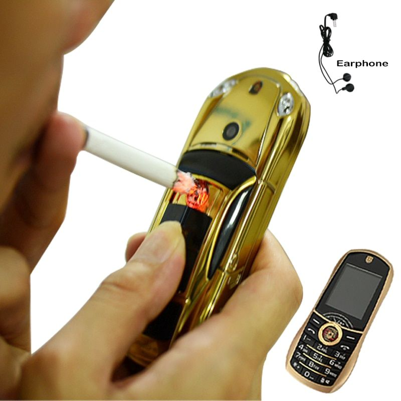 Bar Mini Forme De Voiture Mobile Téléphone Portable Avec Électronique allume-cigare Facebook GPRS Cellulaire taille s Dual Sim lampe de Poche P499