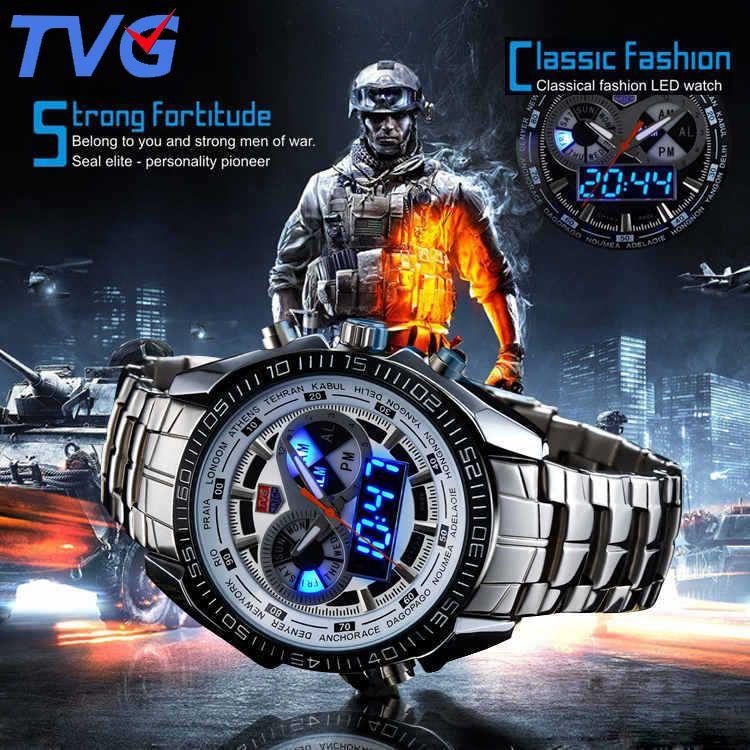 Montres hommes montre à Quartz étanche Double affichage Sport TVG marque numérique LED montre militaire en acier inoxydable horloge mâle