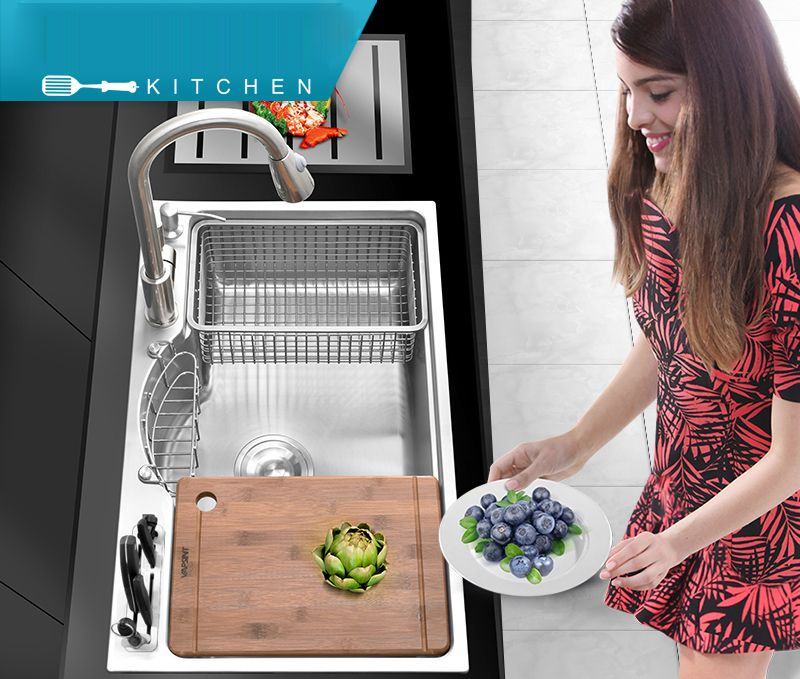 Multifunctional Kitchen Sink of Thickening 304 Stainless Steel Brushed Drawing Drainer with hot and cold Faucet Knift Block Set
