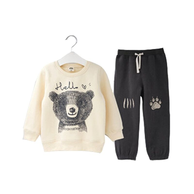 2018 Spring Autumn Children Boy Suit Clothing Set Baby Sports Cartoon Bear Costume Character Kids Tracksuit Pants+jacket Clothes