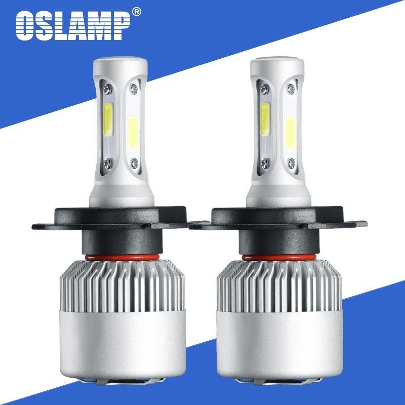 Oslamp S2 72W 8000LM Voiture ampoules de phares LED H4 LED Ampoule H7 H11 H13 9005 9006 COB Puces Salut lo Faisceau Auto Lampe 12V 24V 6500k 4300K