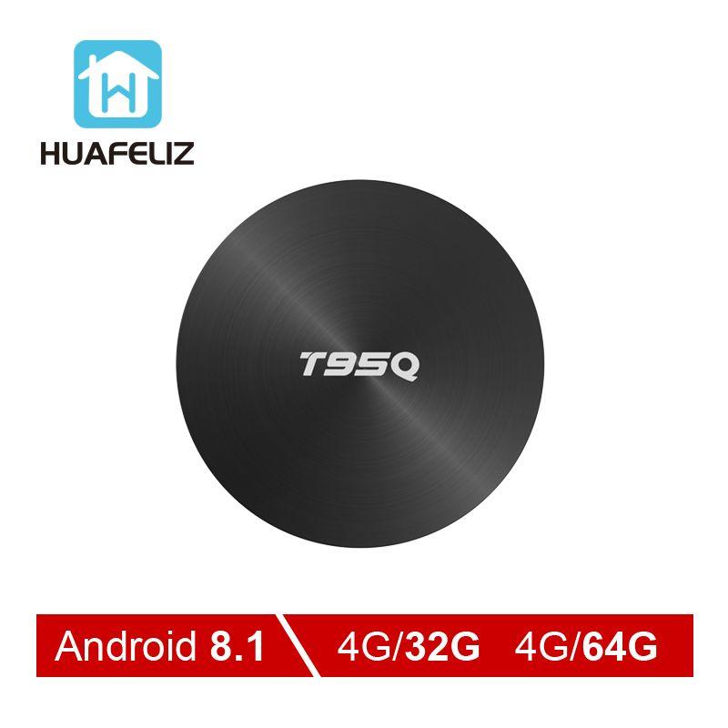 T95Q Android 8.1 Tv Box 4 GB 32 GB Amlogic S905X2 Quad Core 2.4/5.8G Wifi BT4.1 1000 M 4 K lecteur multimédia 4GB64GB boîtier pour smart tv androïde