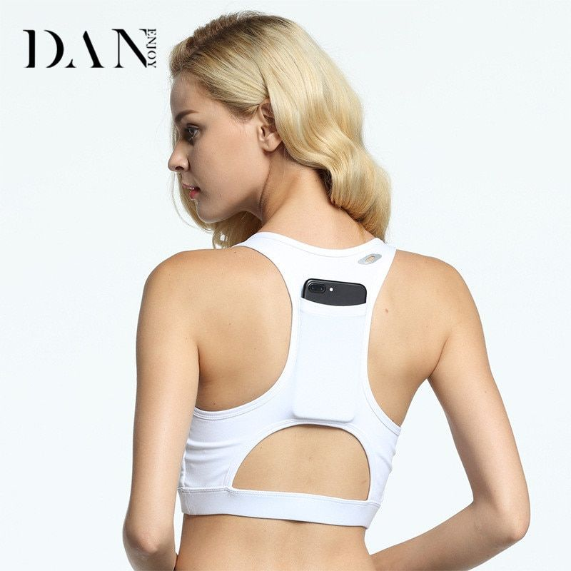 DANENJOY Sexy Back Pocket Shockproof Women Sports Bra Yoga Fitness Wireless Running Vests Comfortable Quick Dry 3 Color Yoga Bra