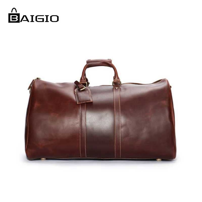Baigio Leather Men Bags Vintage Brown Leather Designer Travel Hand Luggage Overnight Duffle Tote Shoulder Bags Travel Bags
