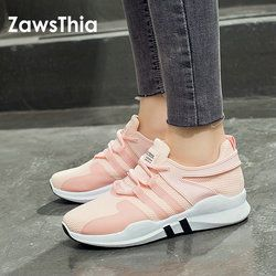 ZawsThia 2018 white pink air mesh student breathable lace up outdoor women shoes lightweight woman vulcanized sneakers shoes
