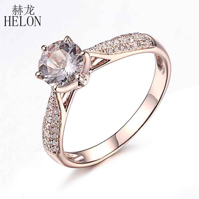 HELON Round Cut 6mm 0.59ct Elegant Morganite Ring Solid 14K Rose Gold Real Diamonds Ring Engagement Gemstone Unique Jewelry Ring