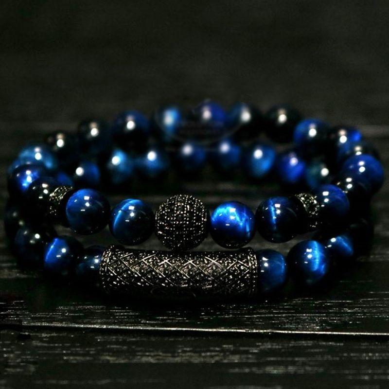 New arrive Men Woman Blue tiger eyes Bead Bracelet 10MM Micro Pave CZ Beaded Black Buddha Bracelet for Women and Men