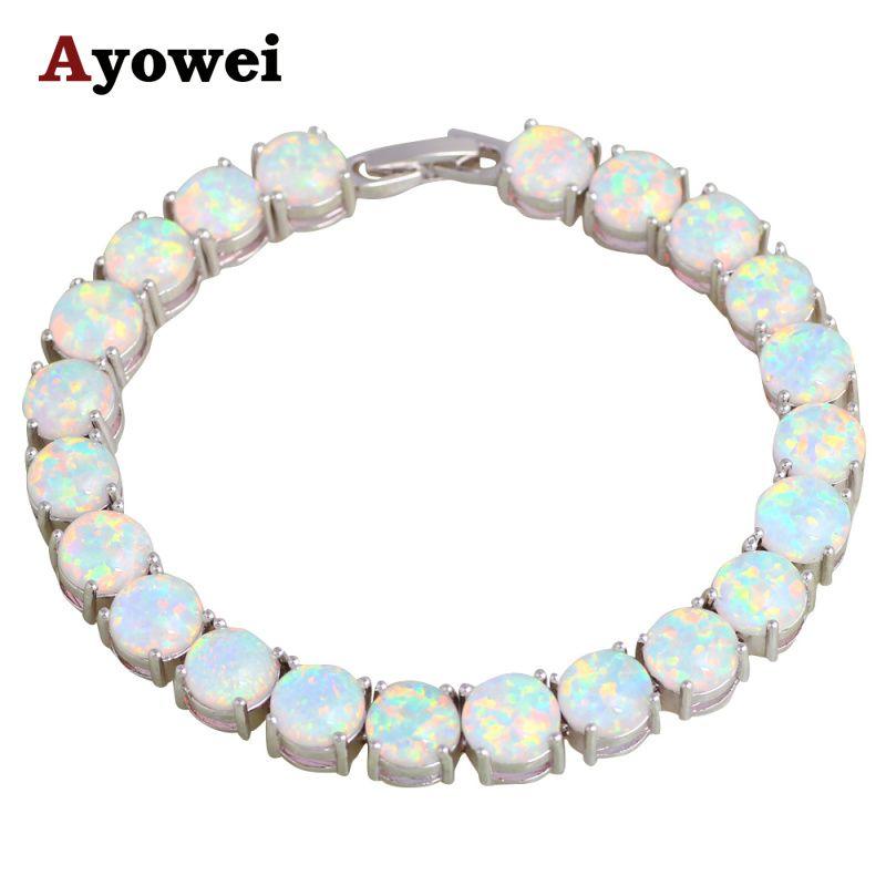 Mystérieux Charme Bracelets Cadeaux De Noël pour les Amoureux Blanc Opale de Feu Argent Estampillé Magnifique Mode Bijoux OB064A
