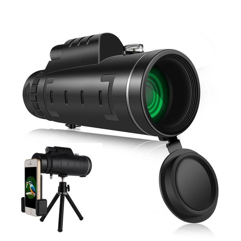 Dual Focus 40x60 Monoculaire Télescope grand-angle Loupe Télescope Avec téléphone Objectif Poussière Couvrir Boussole pour iPhone 8 X Samsung
