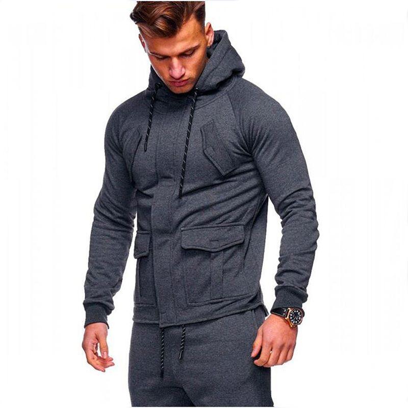 2018 Fashion Hoodies Men Sudaderas <font><b>Hombre</b></font> Hip Hop Mens Brand Solid hooded zipper Hoodie Cardigan Sweatshirt Slim Fit Men Hoody