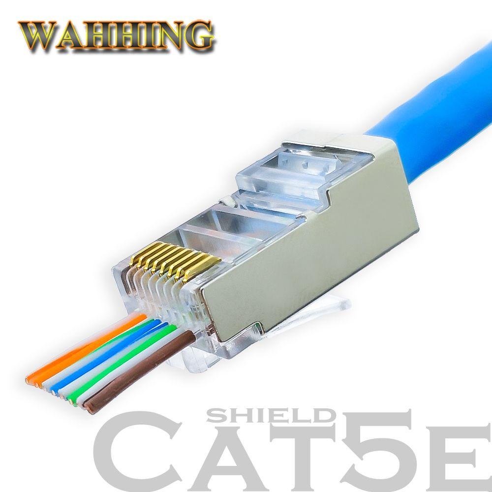 50/100pcs Rj45 Connector Cat5 Cat5e Network Connector 8P8C Metal Shielded Modular Rj45 Plug Terminals Have Hole HY1550