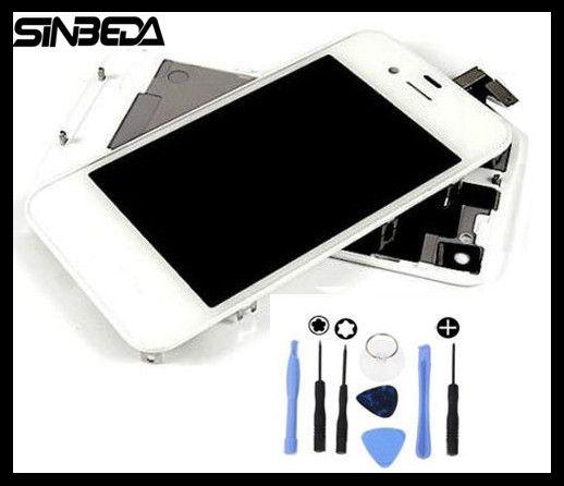 Sinbeda Lcd-bildschirm und Frontglas & Touch Panel Digitizer Montage & batterie Gehäuse Tür Hintere Panel Kit für iPhone 4 4 s