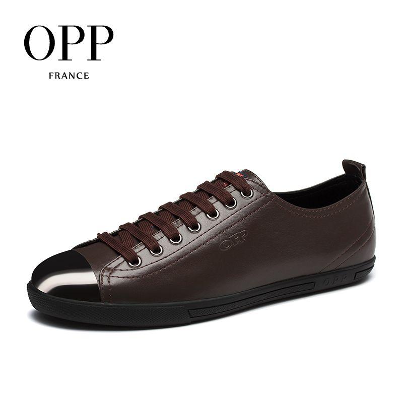 OPP Для мужчин S Лоферы для женщин Мода Корова кожа Кружево на шнуровке Повседневная обувь, кожа шить Повседневное Мужская обувь Пояса из нату...