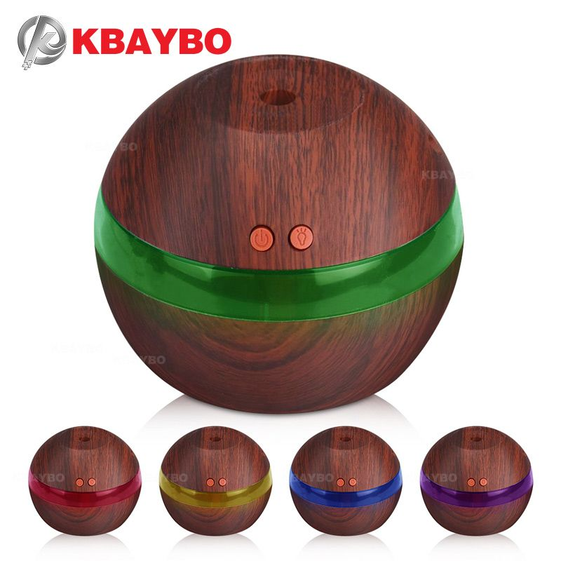 USB Ultrasonic Humidifier, 300ml Aroma Diffuser Essential Oil Diffuser Aromatherapy Mist Maker with 5 Color LED Light Wood grain