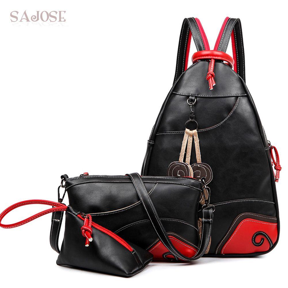 SAJOSE NEW Fashion Vintage Leaf Stitching Shoulder Bag Backpack three sets Multifunction Chest Women Leather Backpacks Designers