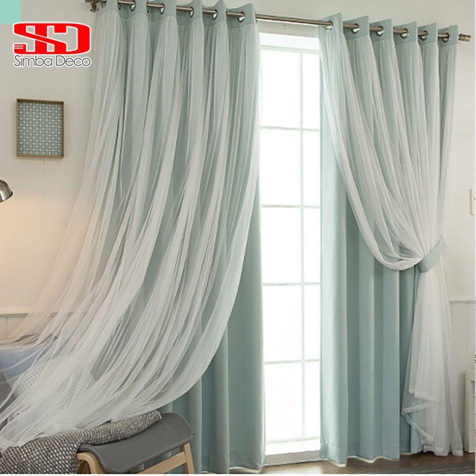 Корейский Кружево вуаль + ткань Шторы набор для детей Детская Гостиная серый готовы затемняющие окна тюль затенение 90% Спальня