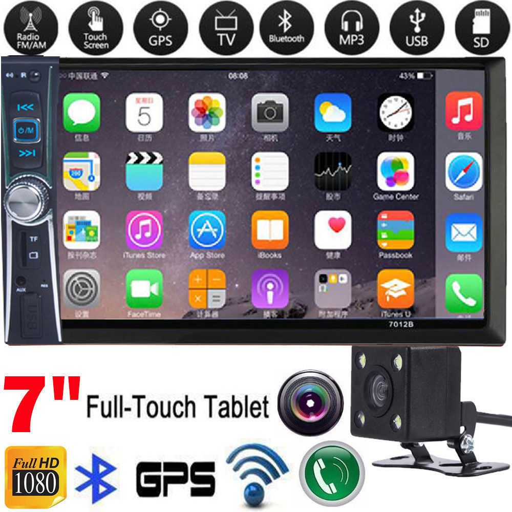 1PC 6.6 LCD Stereo 2DIN Car DVD Player Touch Screen with Backup Camera with USB SD Radio Black