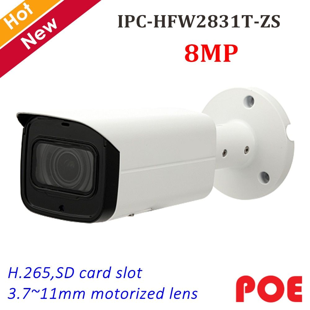 Neue 8MP IP Kamera IPC-HFW2831T-ZS IR Gewehrkugel Sicherheit Kamera 3,7 ~ 11mm Motorisierte Objektiv Unterstützung SD Karte 128g und POE IP cam System