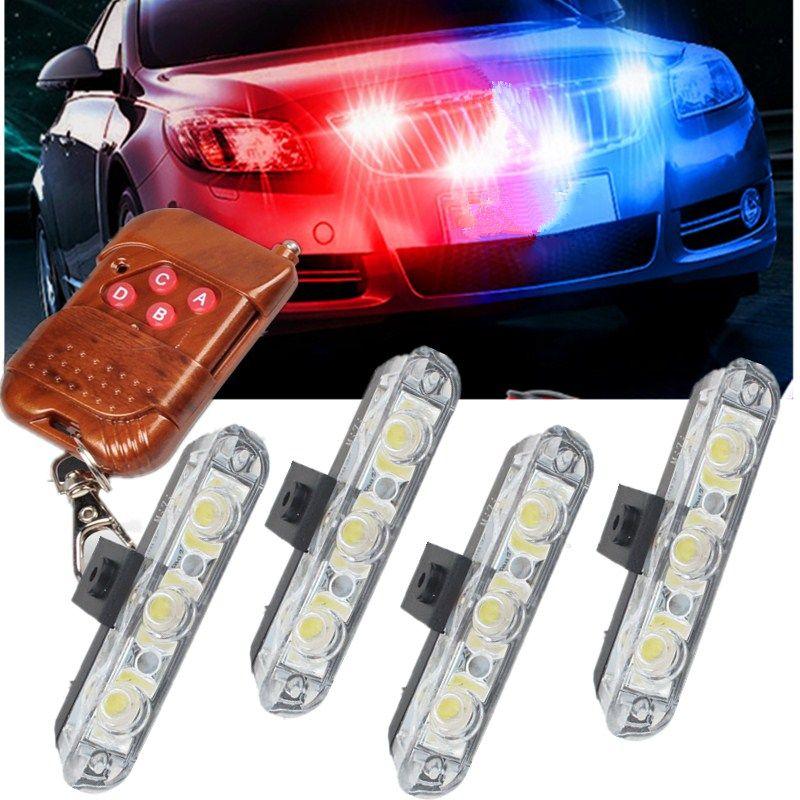 Sans fil À Distance 4x3/led Ambulance lumière de police DC 12 V lampe témoin stroboscopique pour la voiture Camion D'urgence Lumière Clignotant Pompiers Lumières