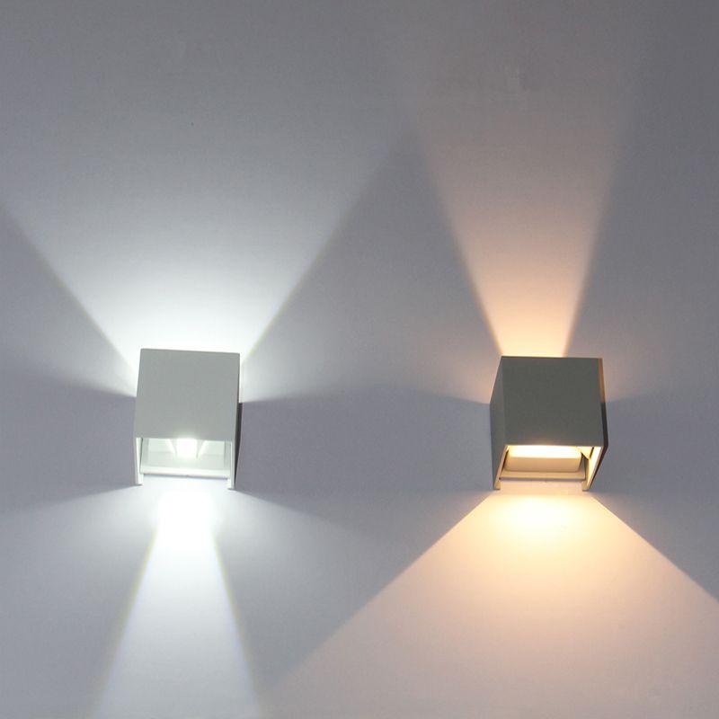 LED éclairage extérieur, IP65 réglable étanche cube LED applique murale, haut et bas LED de jardin applique murale noir blanc gris 100-240V